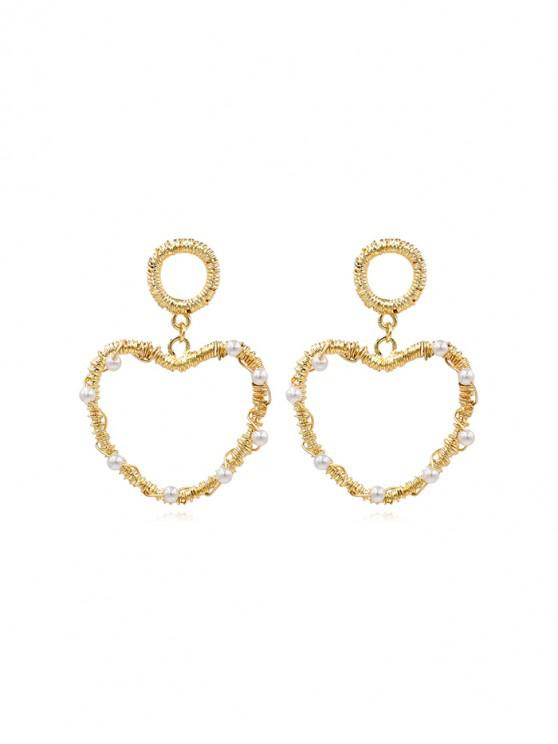 affordable Twine Heart Faux Pearl Drop Earrings - GOLD