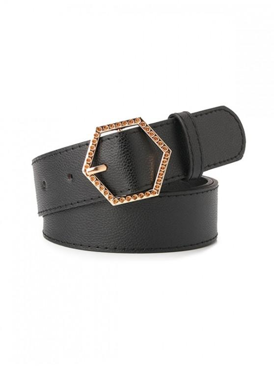 women Metal Sexangle Buckle Belt - BLACK