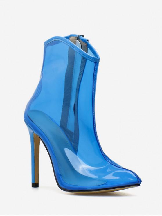 Stivale corto sexy con tacco alto trasparente - Blu Mirtillo UE 35