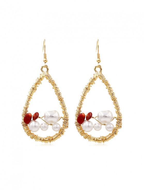 shop Faux Pearl Embellished Twine Teardrop Dangle Earrings - GOLD