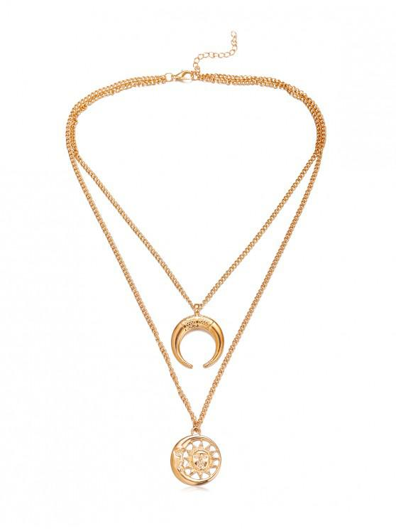 latest Crescent Moon Sun Pendant Necklace - GOLD