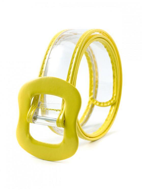 trendy Transparent Student Buckle Decorative Waist Belt - YELLOW