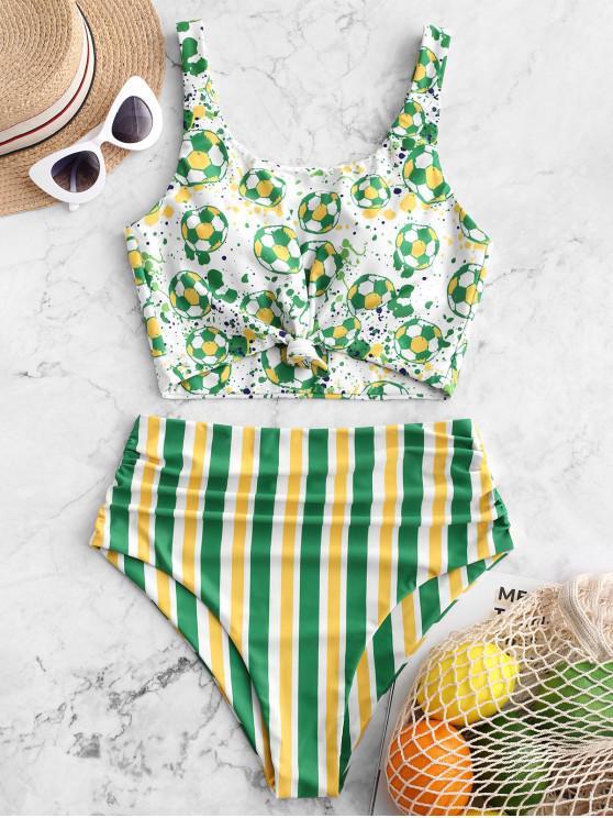 affordable ZAFUL Brazilian Flag Print Knotted Tummy Control Tankini Swimsuit - MULTI-A L