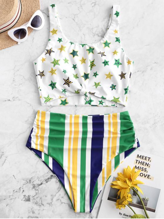 women ZAFUL Brazilian Flag Print Knotted Tummy Control Tankini Swimsuit - MULTI-B S