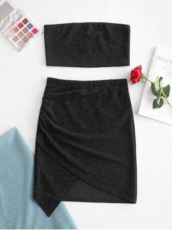 hot ZAFUL Glitter Strapless Asymmetrical Skirt Set - BLACK M