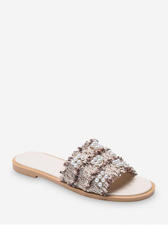 unique Flat Heel Slip-on Pearl Decorate Sandals - BEIGE EU 35