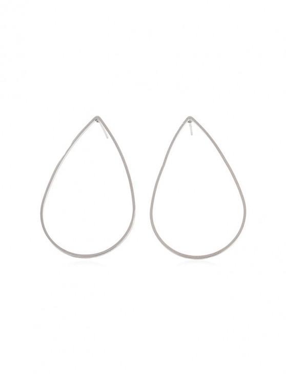 合金水滴圖案耳環 - 銀