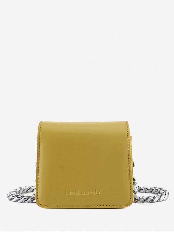 Mini borsa a tracolla con patta in PU - Giallo
