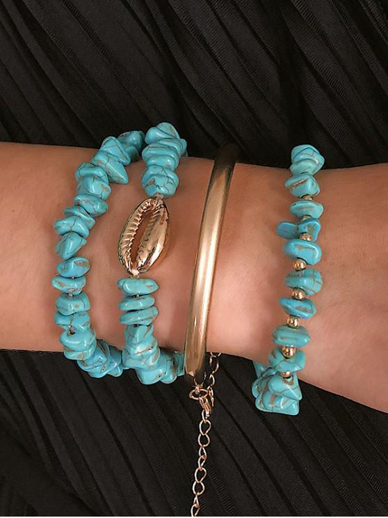 outfit Shell Faux Turquoise Beaded Bracelet Set - DAY SKY BLUE