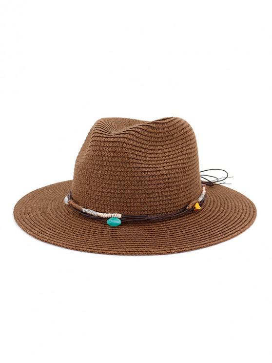 Cappello da spiaggia in paglia con decori in corda - caffè
