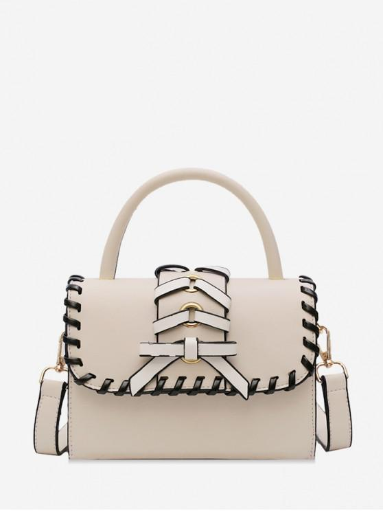 fashion Bow Strap Accent Top Handle Crossbody Bag - WHITE
