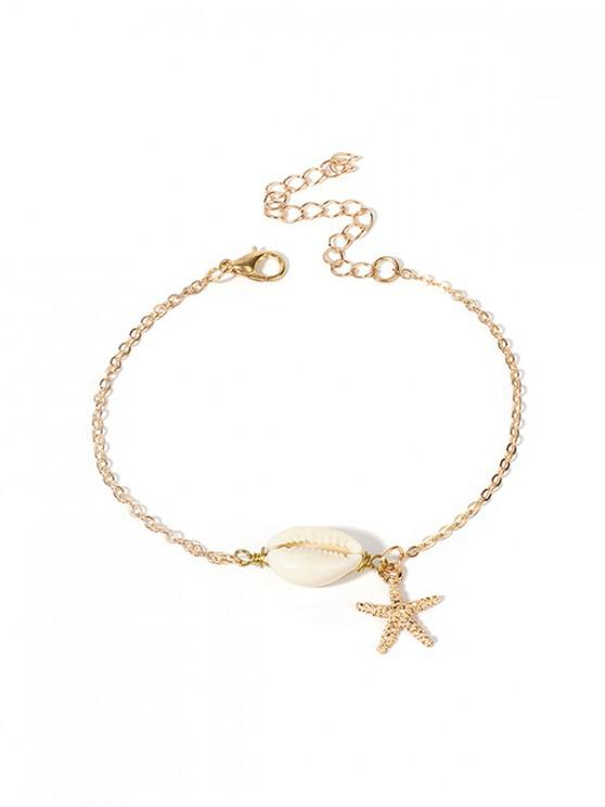 affordable Starfish Natural Shell Chain Bracelet - GOLD