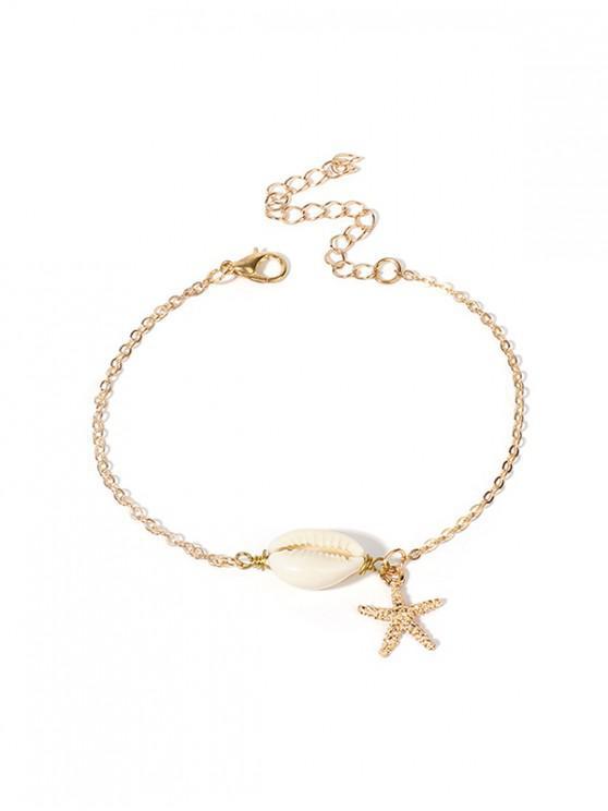 Bracciale a catena con conchiglia naturale Starfish - Oro