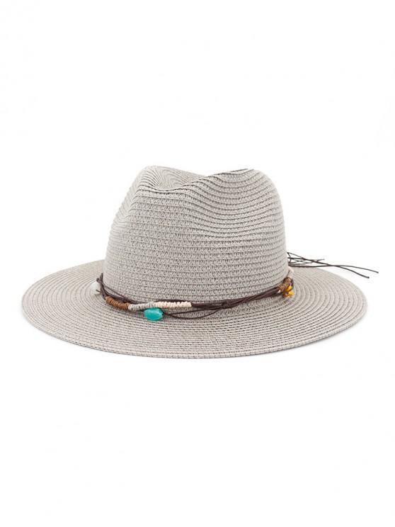 Cappello da spiaggia in paglia con decori in corda - Grigio