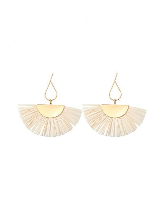 shops Straw Tassel Fan Long Earrings - WHITE