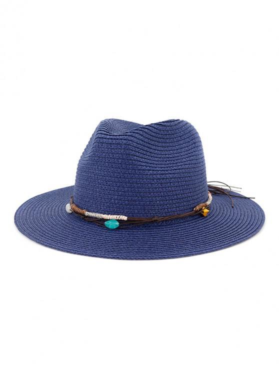 Cappello da spiaggia in paglia con decori in corda - Cadetblue