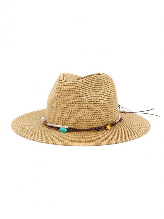 Cappello da spiaggia in paglia con decori in corda - Cachi