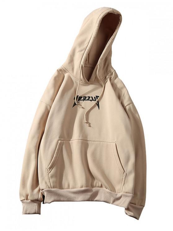 Canguro de bolsillo patrón de impresión sólido con capucha - Tan M