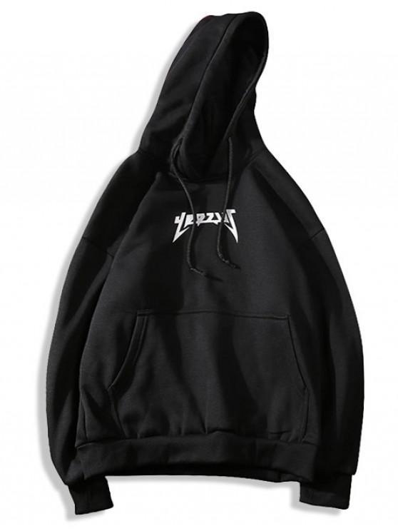 trendy Kangaroo Pocket Pattern Print Solid Hoodie - BLACK S