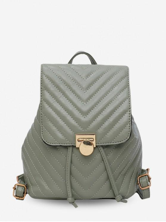 online Chevron Quilted Leather Drawstring Backpack - DARK SEA GREEN