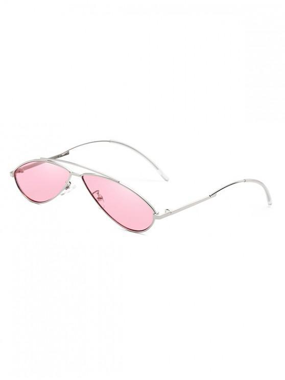Occhiali da sole retrò con montatura in metallo di forma irregolare - Rosa