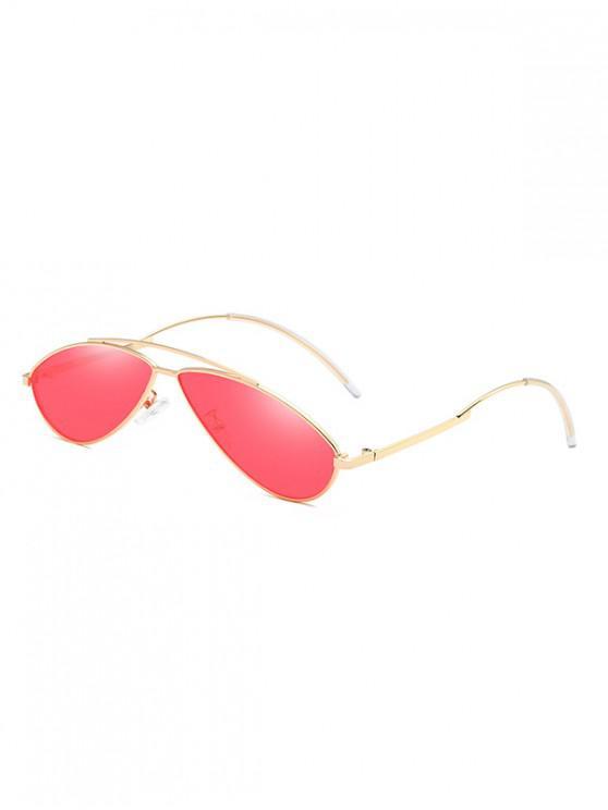 outfit Metal Irregular Shape Frame Retro Sunglasses - RED