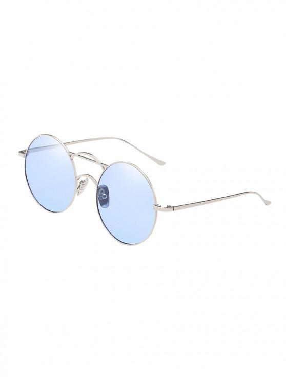 Occhiali da sole in metallo retro con montatura fine e rotonda - Blu Scuro del Cielo