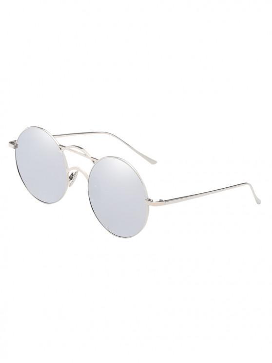 Occhiali da sole in metallo retro con montatura fine e rotonda - Platino