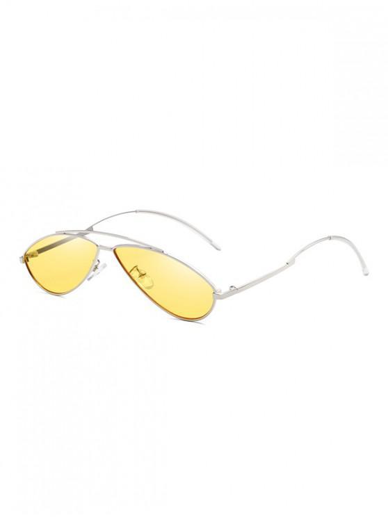 Occhiali da sole retrò con montatura in metallo di forma irregolare - Fiore Giallo