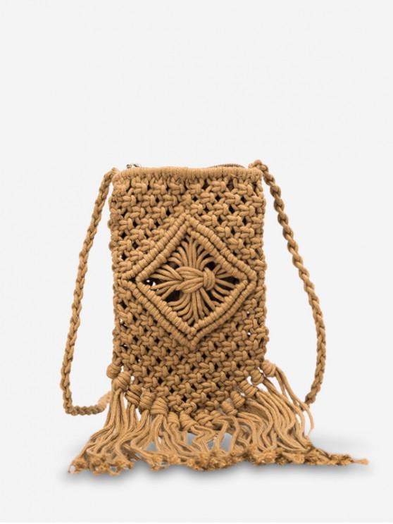 women Bohemian Crotchet Fringe Crossbody Bag - BROWN