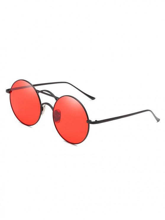 best Round Fine Frame Retro Metal Sunglasses - RED