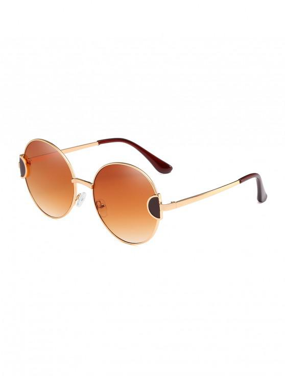 chic Round Metal Vintage Frame Sunglasses - LIGHT BROWN