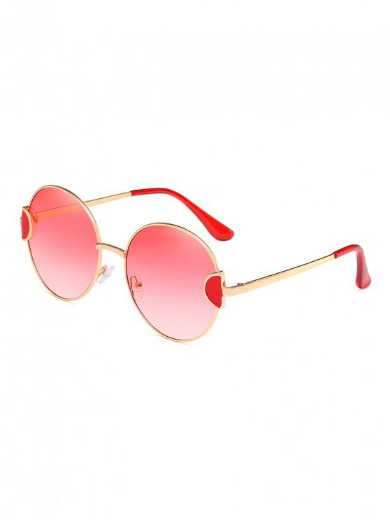 sale Round Metal Vintage Frame Sunglasses - RED