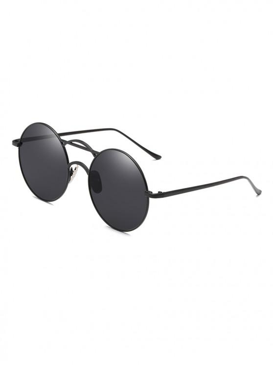 buy Round Fine Frame Retro Metal Sunglasses - BLACK