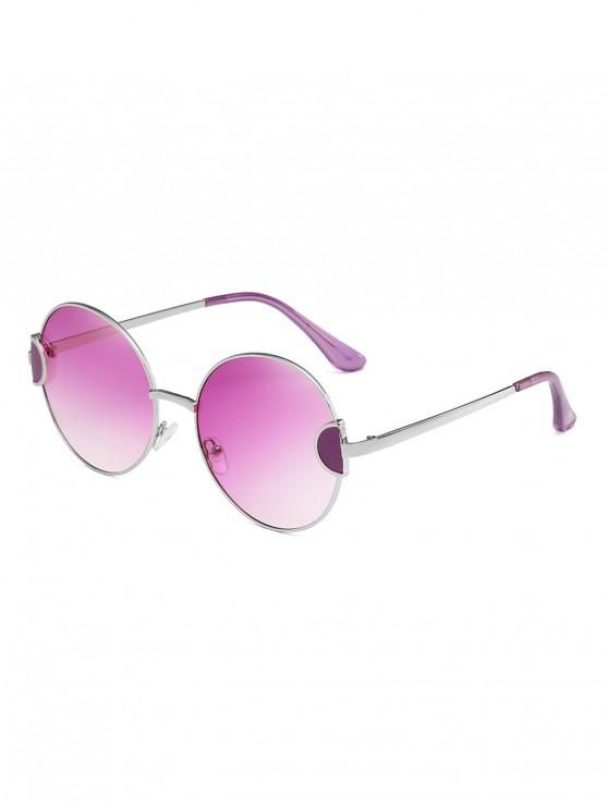 womens Round Metal Vintage Frame Sunglasses - PURPLE FLOWER