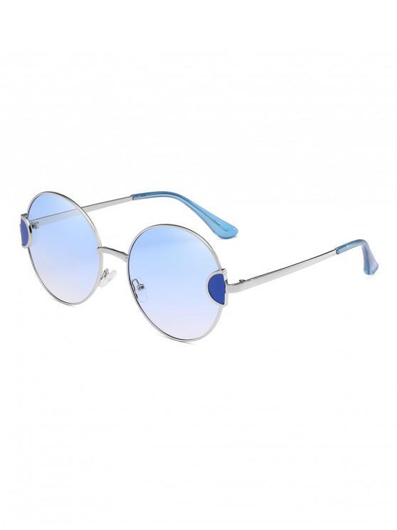 women Round Metal Vintage Frame Sunglasses - LIGHT SKY BLUE