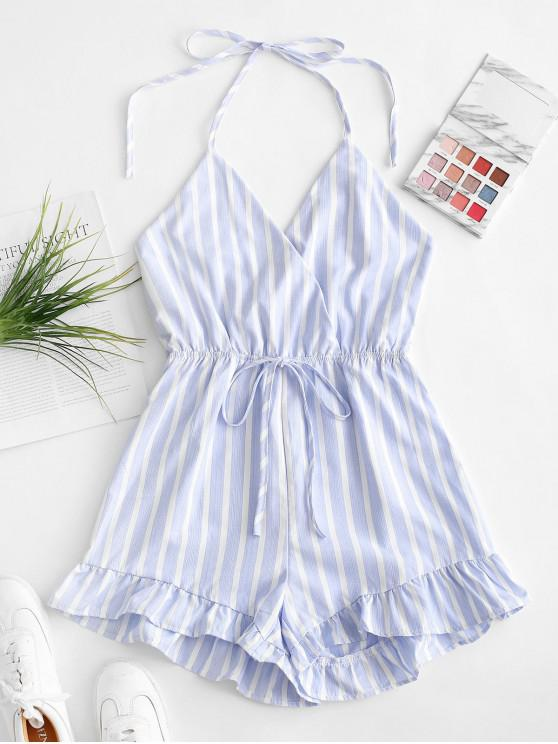 affordable Stripes Open Back Ruffled Hem Romper - MULTI-A S