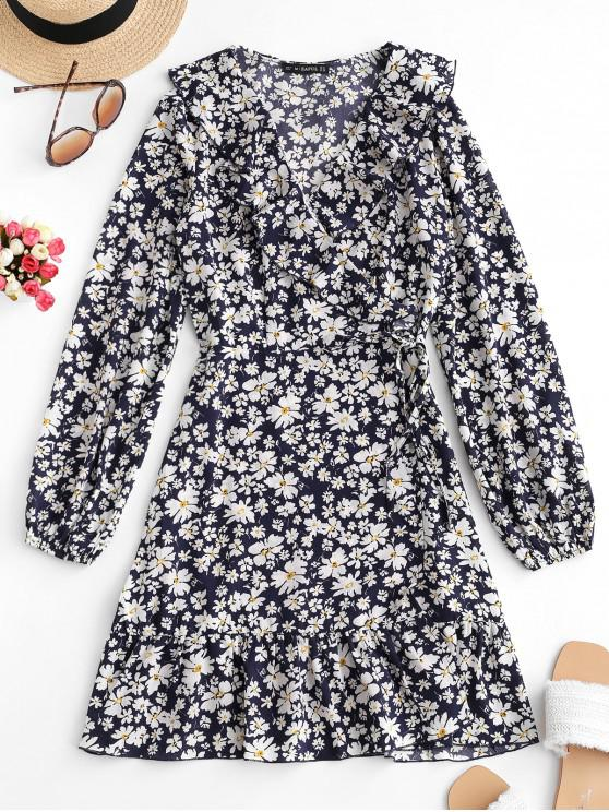 women ZAFUL Flower Print Ruffles V Neck Wrap Dress - DARK SLATE BLUE M