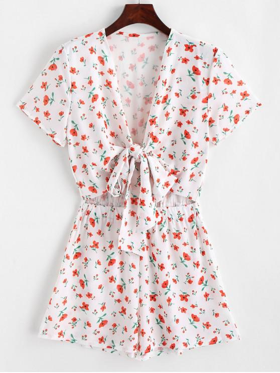 outfits Floral Tie Front Cut Out Romper - WHITE L