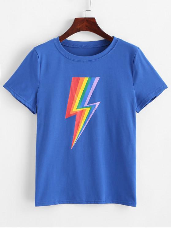 unique Rainbow Lightning Graphic Basic Tee - BLUE XL