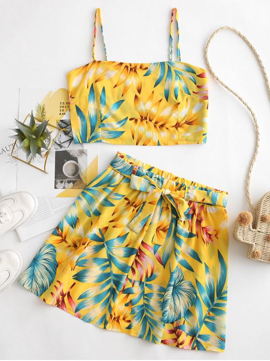 shops Smocked Back Cropped Leaves Print Two Piece Dress - YELLOW S