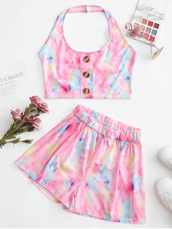 shop Cropped Tie Dye Buttoned Two Piece Set - MULTI-A M