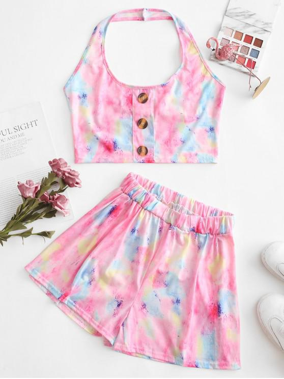 unique Cropped Tie Dye Buttoned Two Piece Set - MULTI-A S