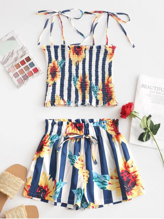 latest Smocked Sunflower Stripes Paperbag Shorts Set - MULTI-A L