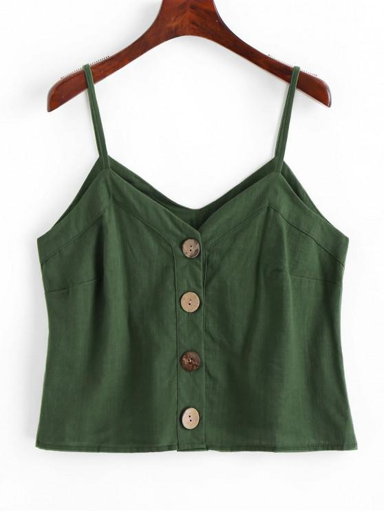 affordable Solid Button Up Cami Top - GREEN S