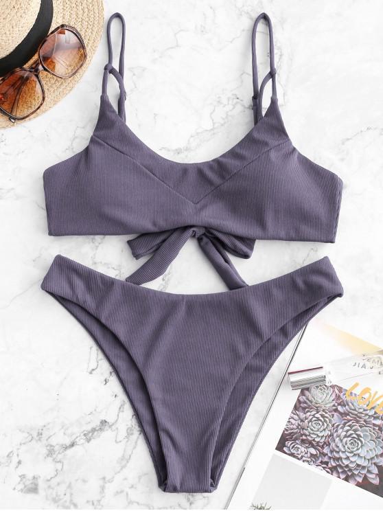 fancy ZAFUL Ribbed Caged Tie Back Bikini Swimsuit - BLUE GRAY S