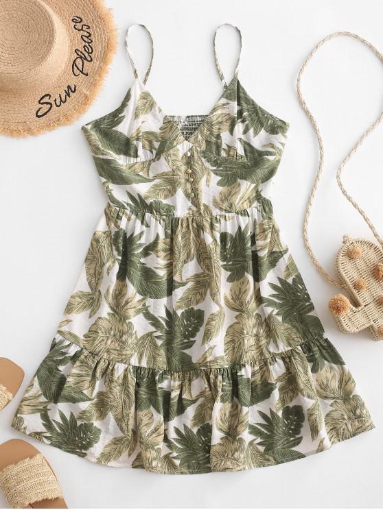 women's ZAFUL Leaves Buttoned Smocked Back Cami Dress - MULTI S
