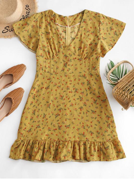 chic Flounced Hem Ditsy Floral Mini Dress - YELLOW L