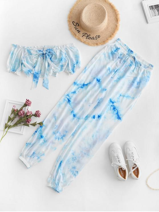 trendy ZAFUL Tie Dye Knotted Crop Jogger Pants Set - PASTEL BLUE M