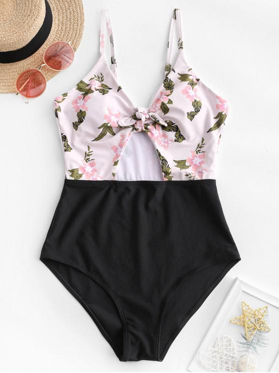 shop ZAFUL Flower Contrast Knotted Cut Out One-piece Swimsuit - MULTI-A S